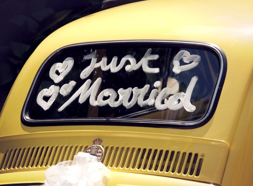 Yellow Car. Just Married