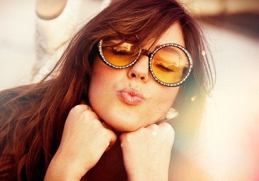 Girl with Sunglasses on