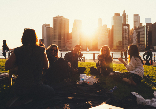 Girls having a picnic